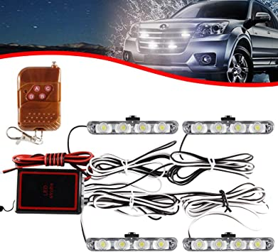 4X4 LED Red Car Truck Warning Flashing Wireless Remote Strobe Light Bar Lamp 12V