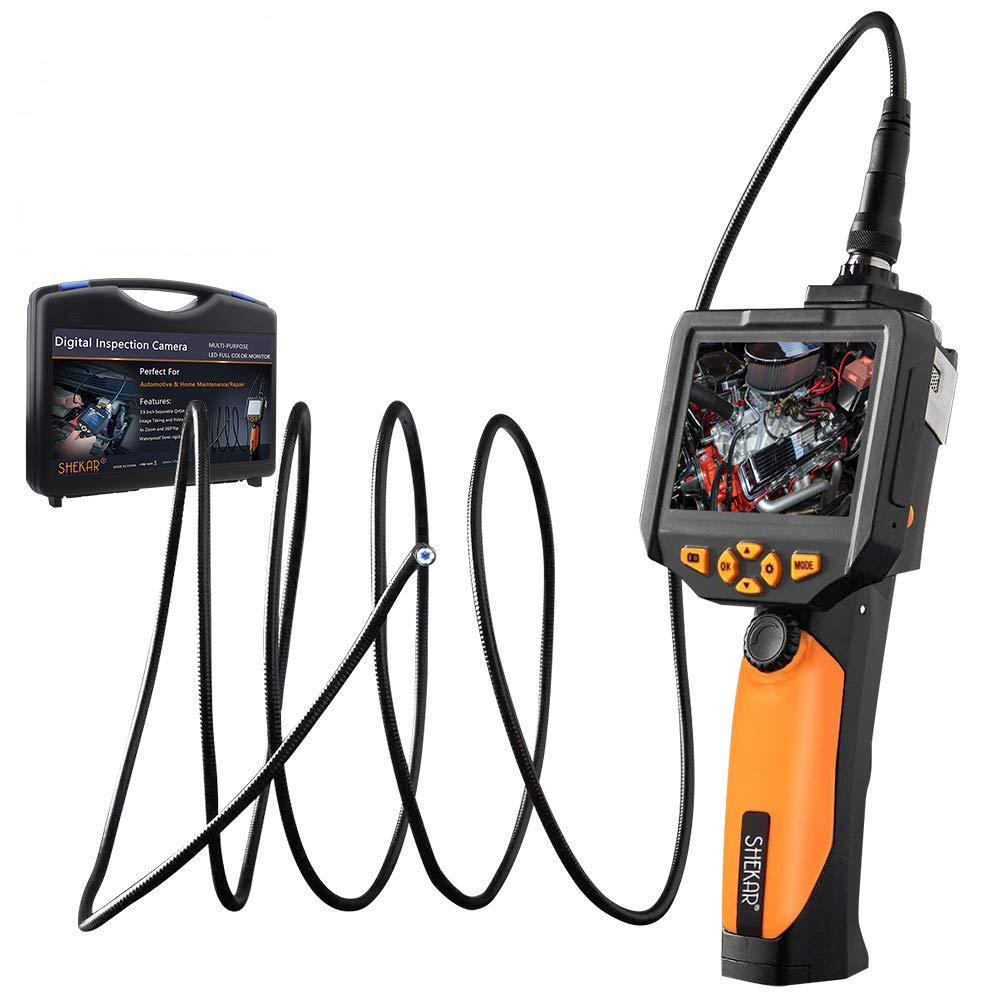 [Upgraded Tool Box Added] Industrial Inspection Camera with 3.5 Inch LCD Color Screen Endoscope Borescope Waterproof Handheld Snake Camera with Semi-Rigid 9.84ft Cable