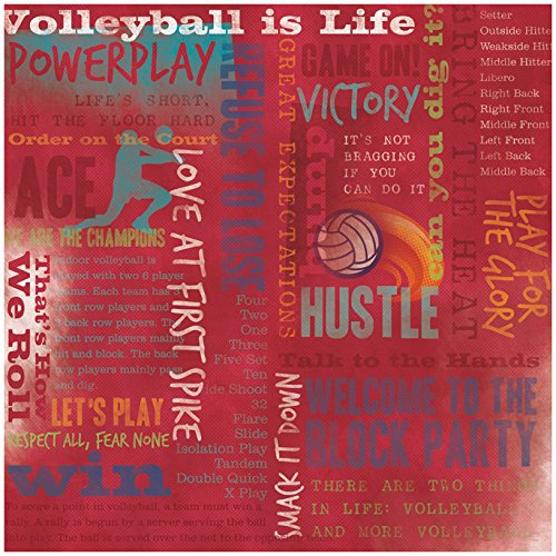 KAREN FOSTER Design Scrapbooking Paper, 25 Sheets, Volleyball is Life Collage, 12 x 12 ()