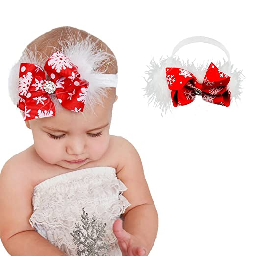 Ehdching Baby Girl Christmas Headbands Set Flower Bow Hair Accessories 2 PC 6fee853460c
