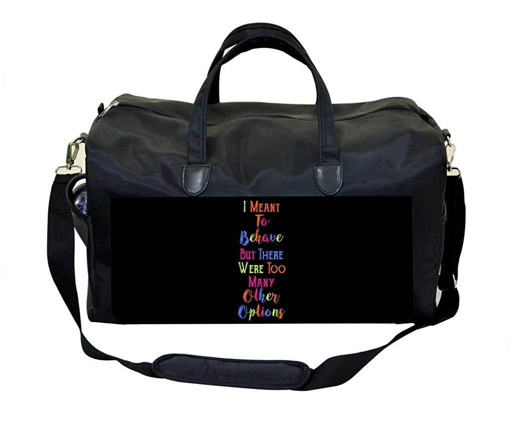 Behave Quote in Color PU Leather and Suede Weekender Bag