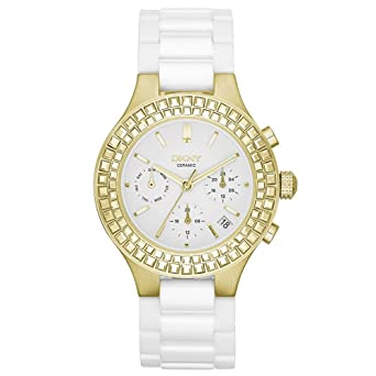 7e2e726dc Image Unavailable. Image not available for. Color: DKNY Chambers Large  Ceramic Gold-Tone Chronograph with Glitz Women's watch ...