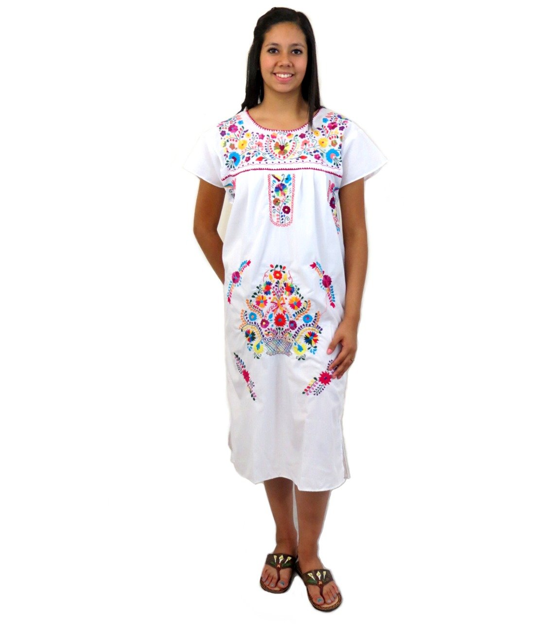 Women's Mexican Tehuacan Mid-Calf White Tunic Campesina Dress - DeluxeAdultCostumes.com