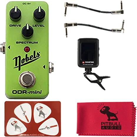 and 4 Pack of Guitar Picks 1 Fiber cloth Nobels ODR-Mini Gree Overdrive Guitar Effect Pedal Bundle with 2 Master Patch Cables 1 Master Tuner