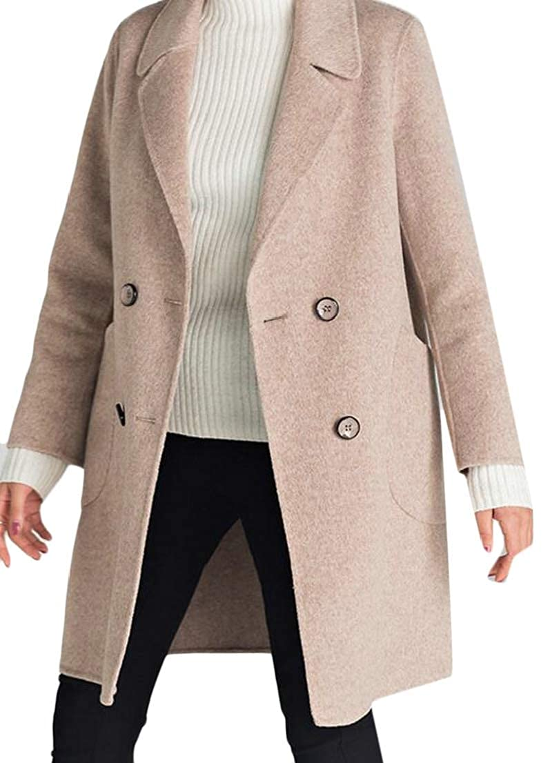 2 Alion Women's Casual Notch Lapel Double Breasted Wool Trench Coat Overcoat