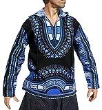 RaanPahMuang African Dashiki Long Sleeve Pull String Hoodie Light Cotton Shirt, Medium, Black - Blue
