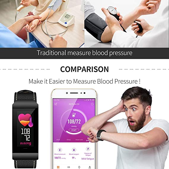 Amazon.com: maxtop Leather Smart Band for Men with Heart Rate Monitor/Blood Pressure/Pedometer/Sleep Monitor/Message&Call Reminder Compatible with Android ...