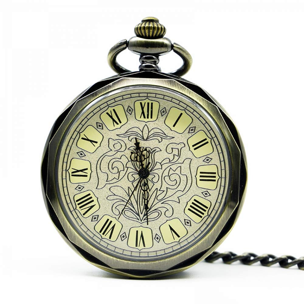 DYH&PW Mechaincal Pocket Watch Man Women No Cover Rome Scale Carved Watch Table Necklace Watch Fashion Movement Gift,A