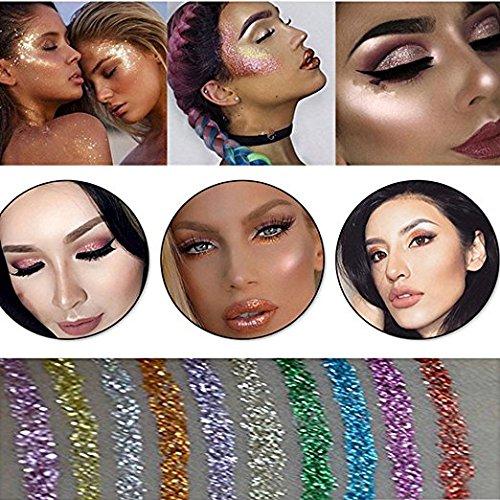 10 Colors Liquid Glitter Eyeliner Metallic Shimmer Glitter Eyeshadow Pigment Eyebrown Shimmer Waterproof Face Lips Art for Party Festival Makeup by Bestland (Image #5)