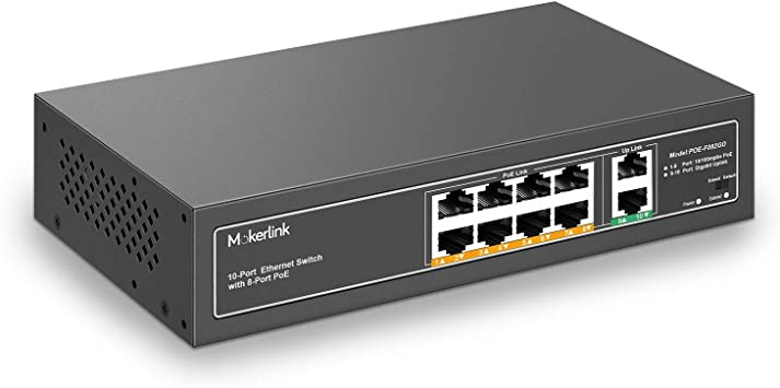 Mokerlink 10 Port Poe Switch 8 Poe 100mbps 2 Gigabit Computers Accessories
