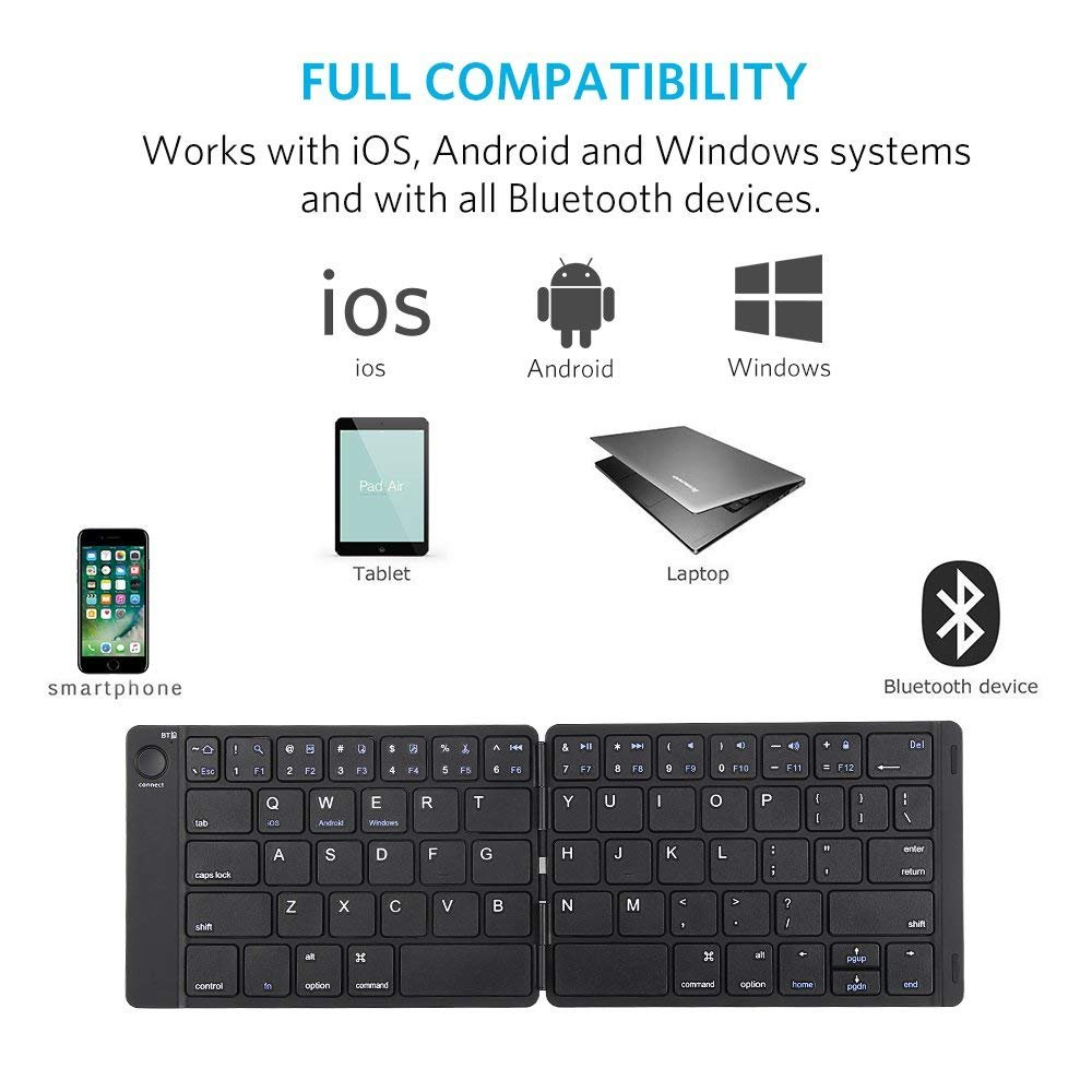 Bluetooth Keyboard, Moreslan Foldable Wireless Keyboard for Android Windows IOS Laptop Tablet Smartphone and More, Ultra-Slim Portable Pocket Sized Keyboard with Built-in Rechargeable Battery by Moreslan (Image #6)