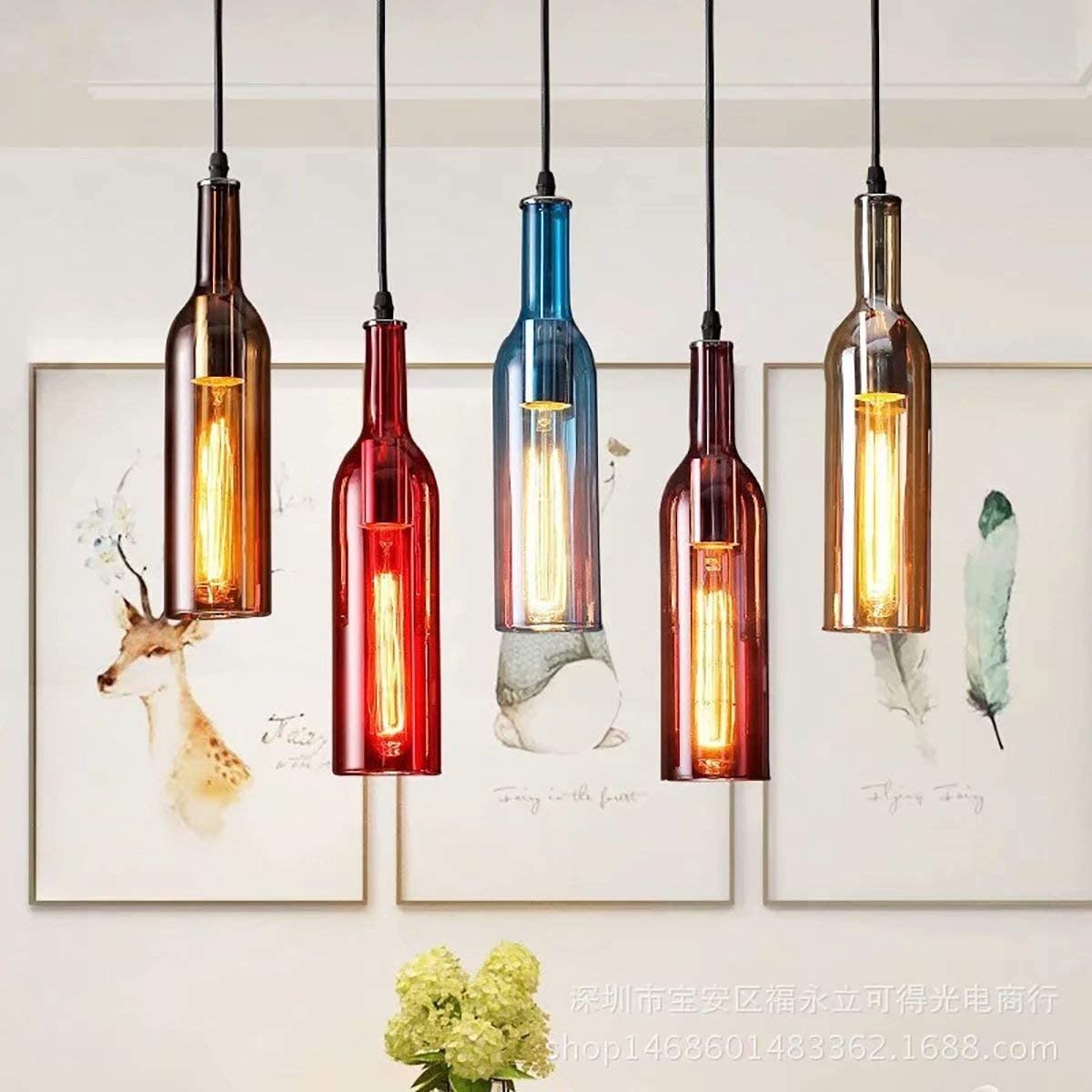 Vintage Industrial Colored Glass Liquor Bottle Pendant Light, Wine Bottle Creative Retro Chandelier for Cafe Loft Restaurant Kitchen Island Bar Dining Room Bar