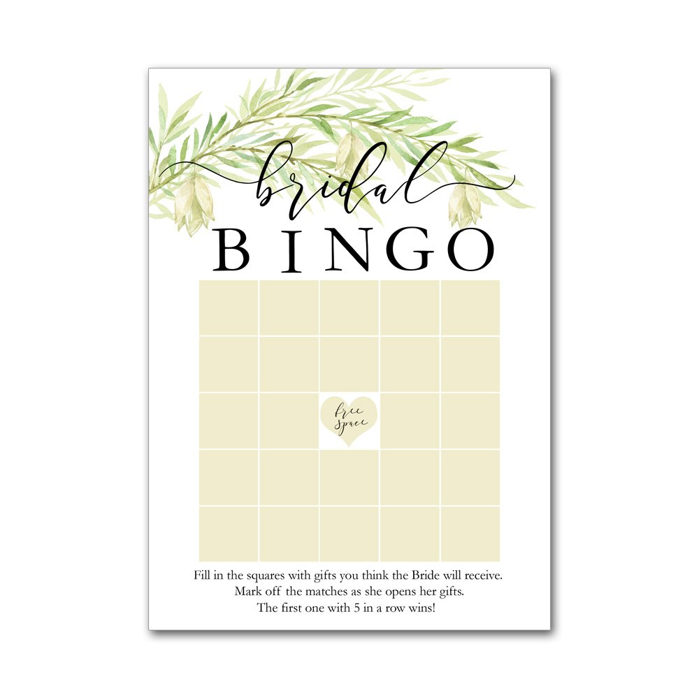 Bingo Game Cards for Bridal Wedding Showers with Watercolor Wild Flowers Leaves Leaf Branch BBG8016