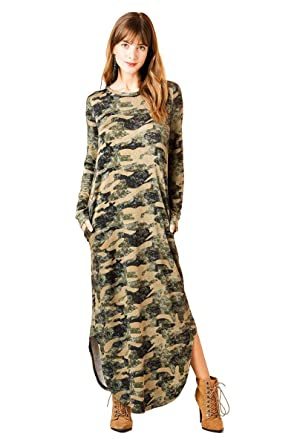 0059aa0707f Nyteez Women s Camouflage Long French Terry Knit Nightgown Dress ...