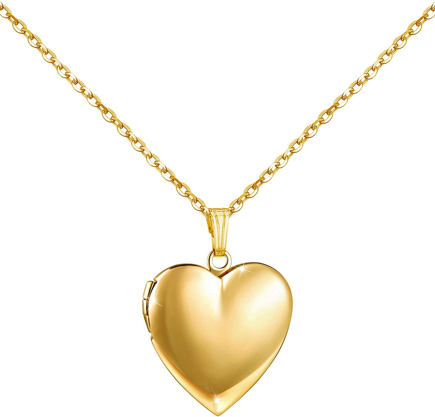 Amazon Com Youfeng Love Heart Locket Necklace That Holds Pictures Polished Lockets Necklaces Birthday Gifts For Girls Boys Heart Gold Locket Jewelry