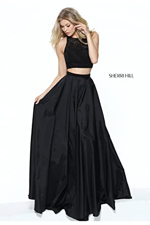 Sherri Hill Black 50803 Elegant Two Piece Dress with Beaded Top