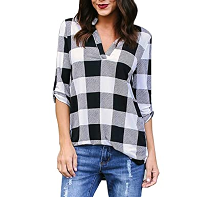 4da0a8e115ad3 Vovotrade Women Adorable Spring 3 4 Sleeve Plaid V Neck Office Work Blouse  Tops T