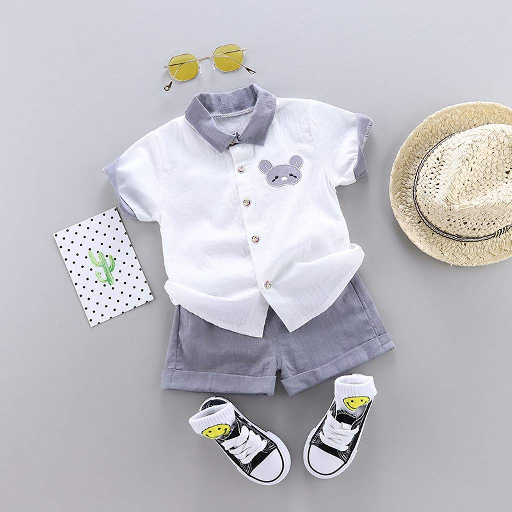 Solid Color Shorts 2Pcs Outfits Sets Dinlong Summer Toddler Kid Baby Boys Lovely Cartoon Embroideried Shirt Tops
