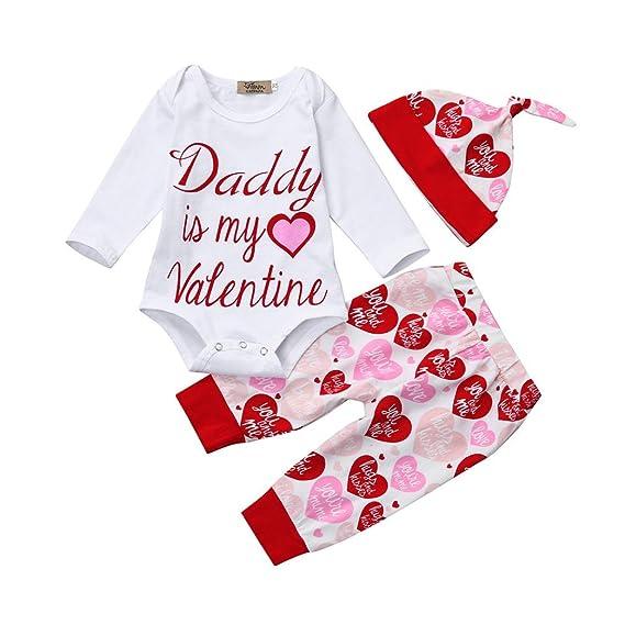 Ropa Set janly 0 - 18 meses letras Pelele bebé niña Tops Con Corazón Printed Pants sombrero para Papa es mi Valentine Ropa Trajes blanco Weiß Talla:12-18 ...