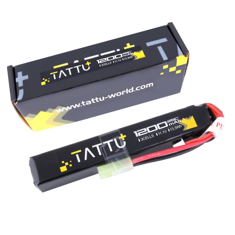 TATTU 11.1V LiPo Airsoft Stick Battery,3S 1200mAh 25C Battery Pack for Airsoft Gun with Mini Tamiya Connector