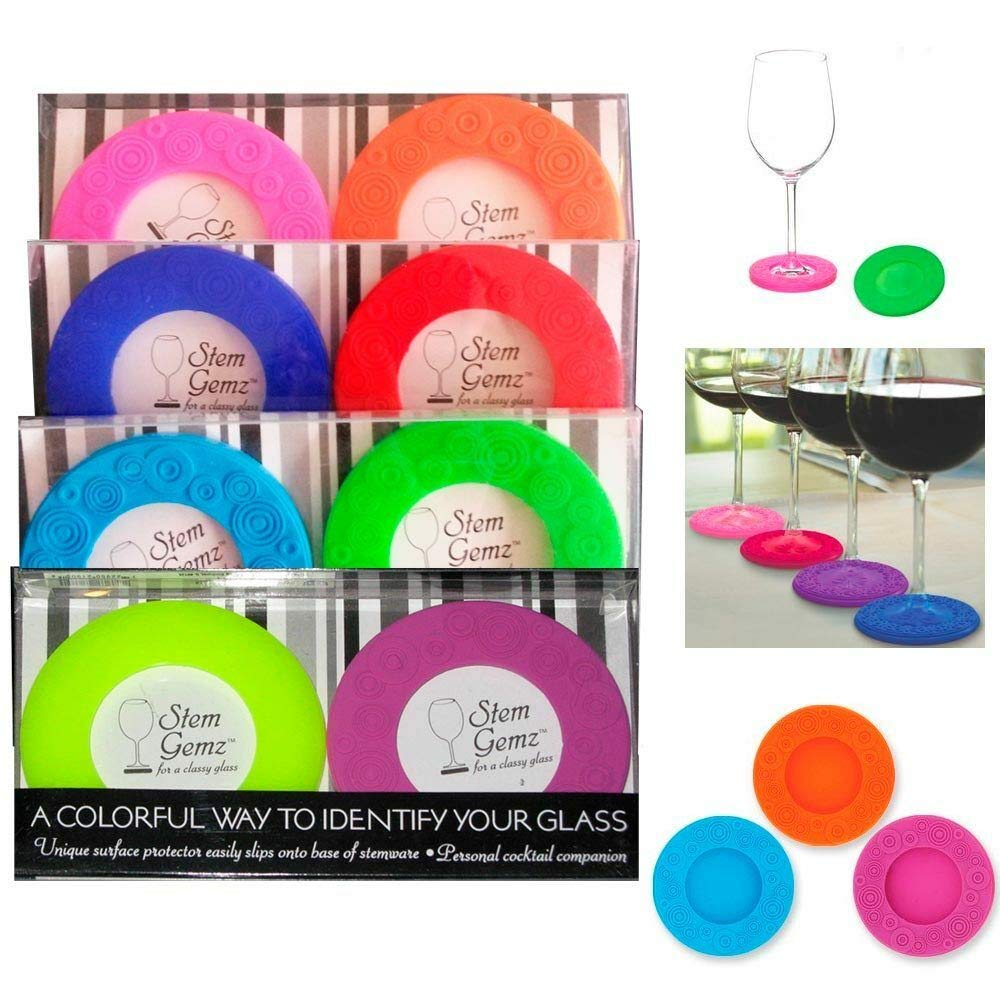 4pc Silicone Slip On Wine Glass Coasters Protector Assorted Colors Party Markers by National Limited Shop