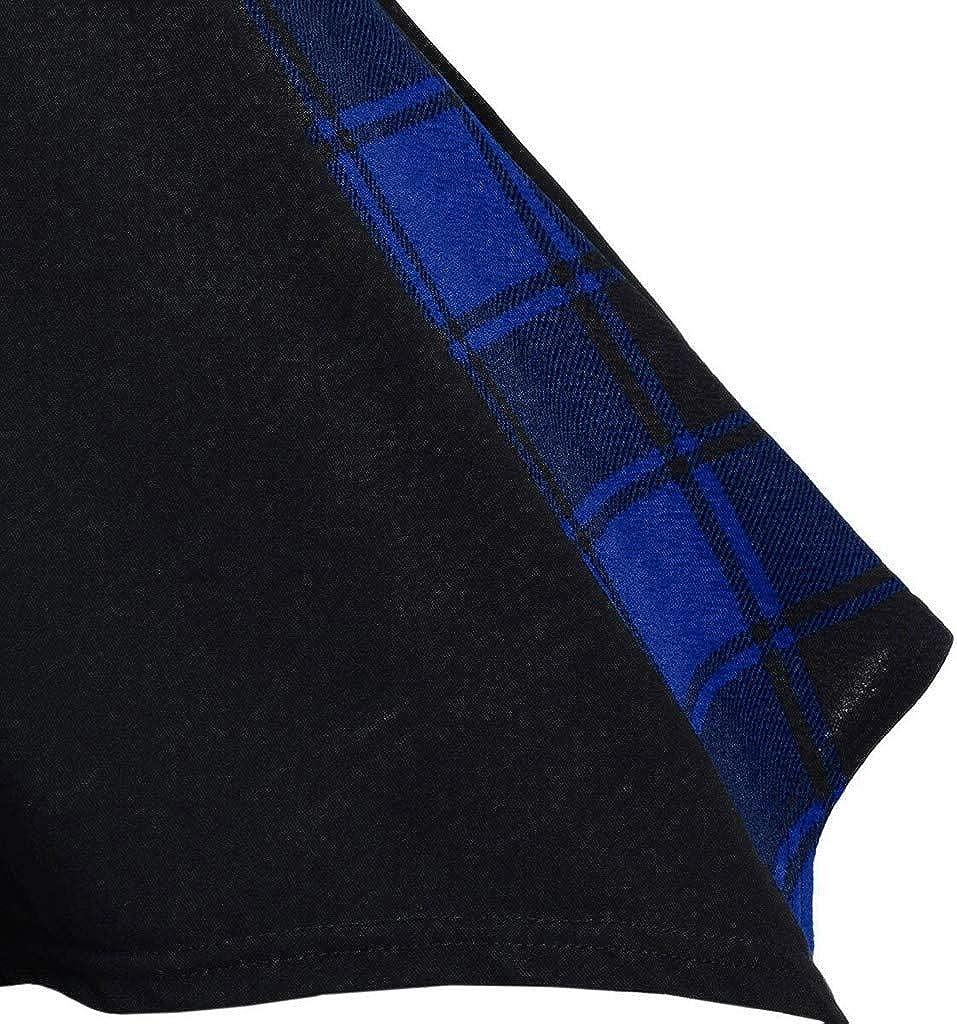 Women Irregular Sweatshirt Plus Size Plaid Convertible Neck Mock Button Handkerchief Tshirt