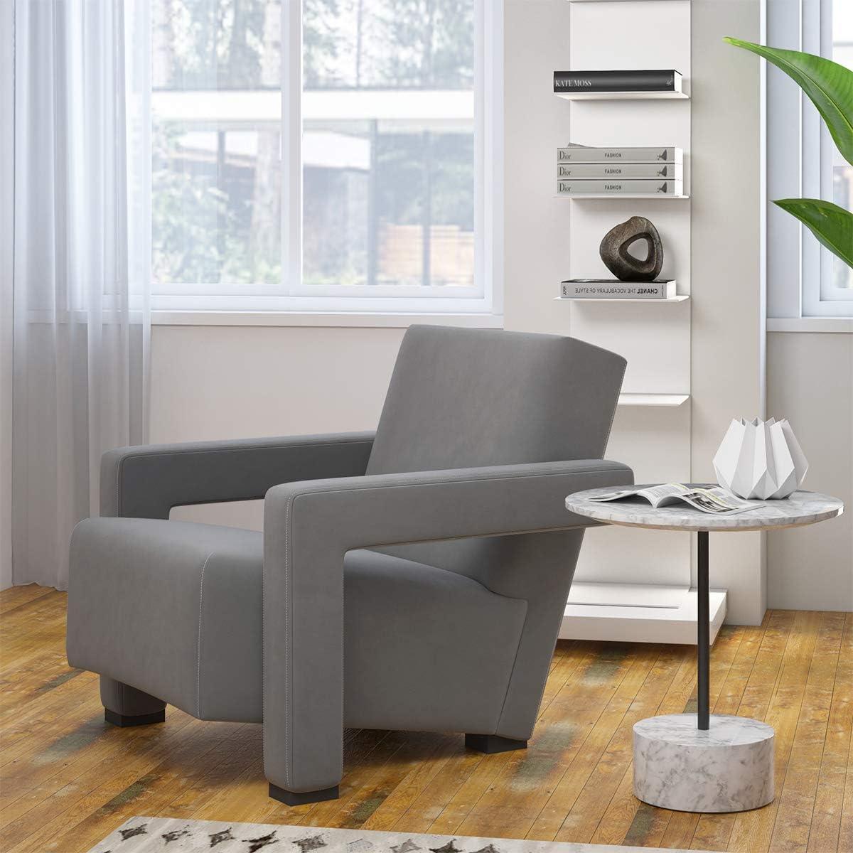 MEXIYA Hughe Modern Grey Textured Velvet Upholstered Accent Lounge Arm Chair