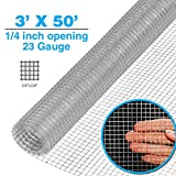 Clevr 3' x 50' 1/4 inch 23 Mesh Welded Wire Hot-dipped Galvanized Hardware Cloth Gutter Guards Plant Supports Poultry Enclosure Chicken Run Fence Indoor Rabbit Pen Cage Wire Window Doors
