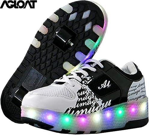BGHKFF Zapatos con Ruedas para Niños Led Luz Automática De Skate Zapatillas Deportes Zapatos Sneakers Running Shoes para Niñoss,Black1-40EU: Amazon.es: Hogar