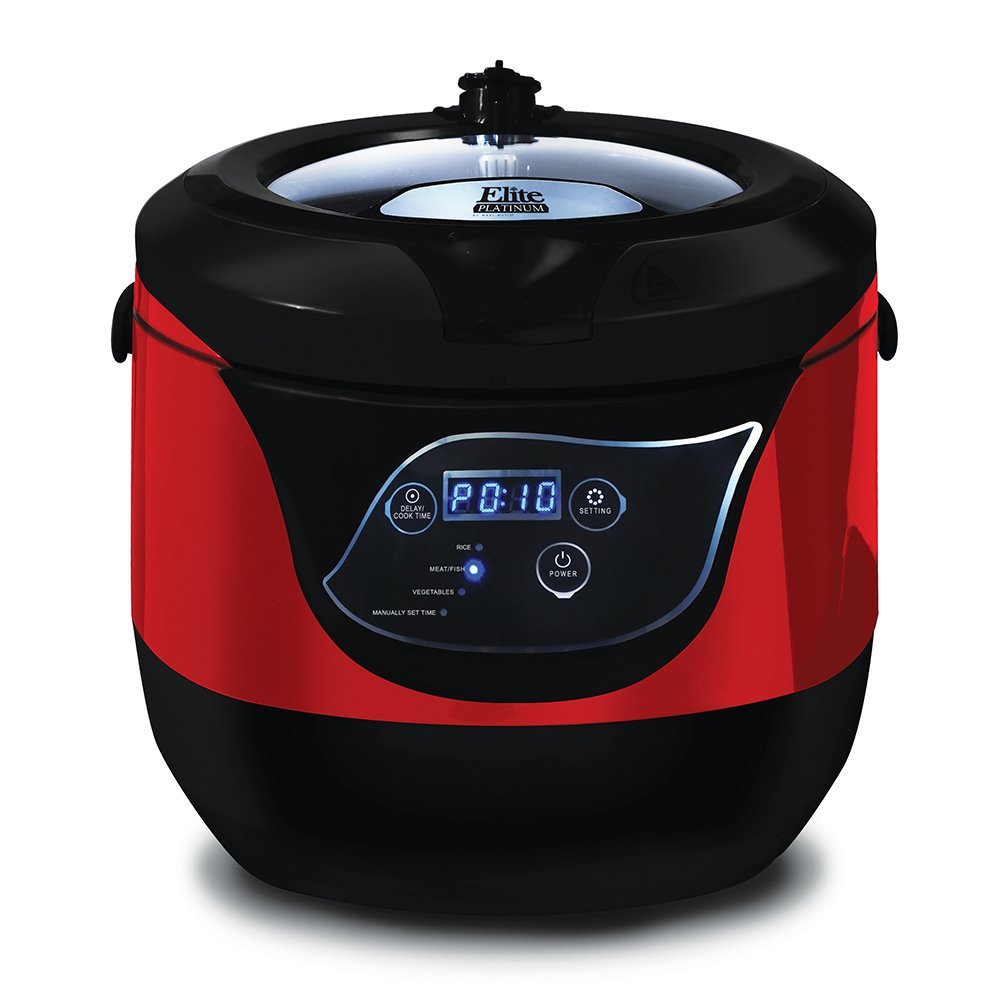 Elite Platinum EPC-55R Maxi-Matic 5.5 Quart Electric Digital Low Pressure Cooker, Red (Stainless Steel)