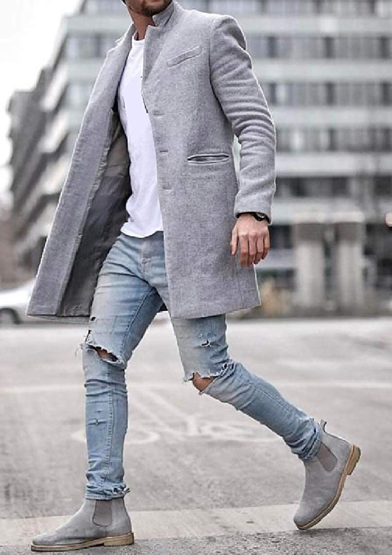 MirrliyMen Britain Wool Blend Single-Breasted Lapel Collar Overcoat Trench Coat
