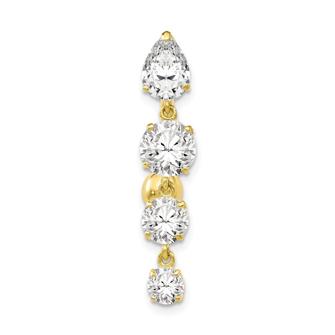 ICE CARATS 10k Yellow Gold Tops Down 4 Dangle Czs Belly Button Rings Screw Navel Bars Body Piercing Naval Fine Jewelry Gift Set For Women Heart