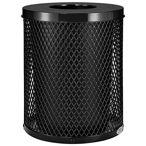 Global Industrial Thermoplastic Coated Mesh Receptacle w/Flat Lid, 32 Gallon, Black