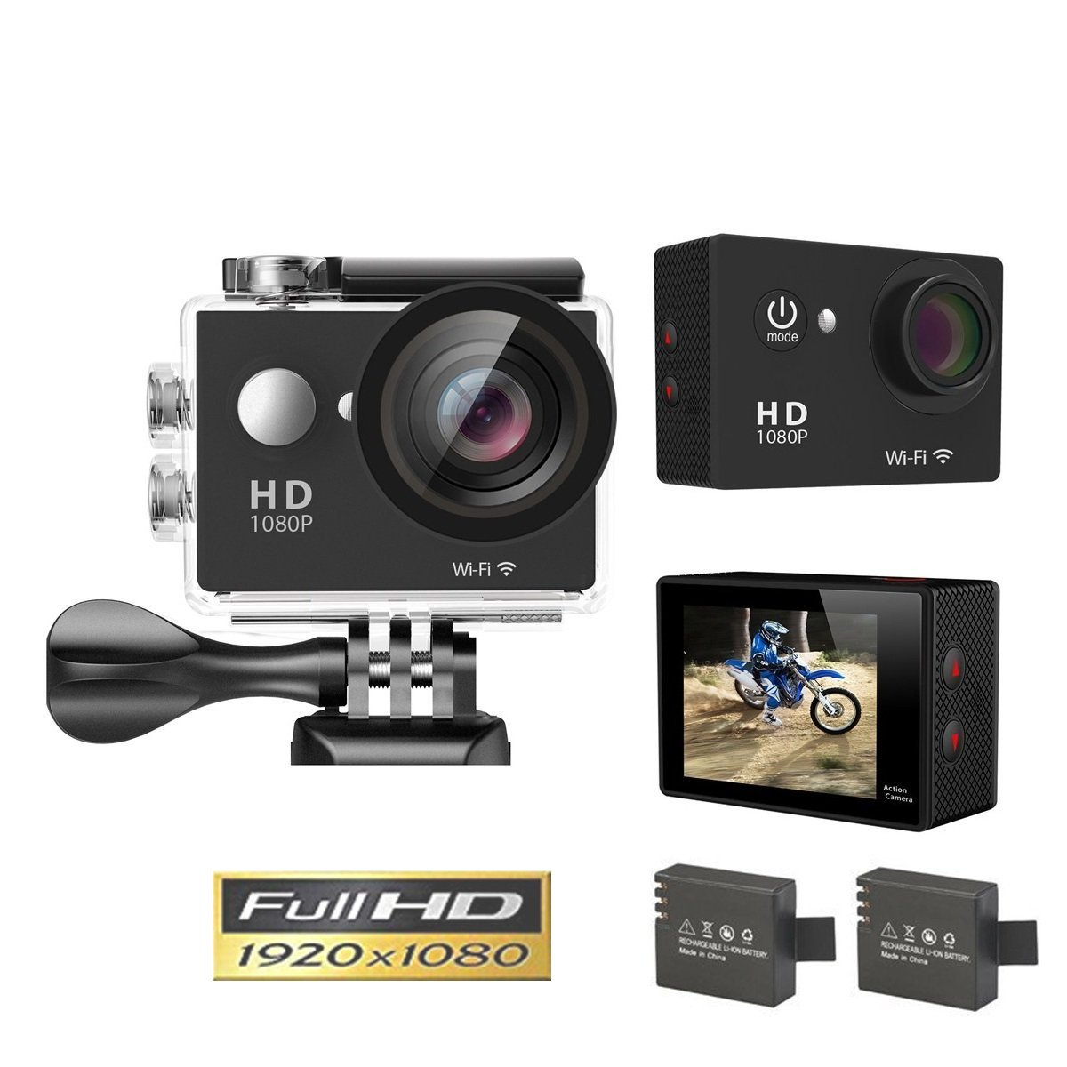 Amazon.com: Goldwangwang 1080p WIFI Sports Action Camera 12MP HD Waterproof  Camcorder 2 Inch LCD Screen 140 Degree Wide Angle Len W/ 2 Rechargeable ...