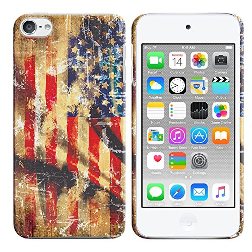 Apple iPod Touch 5 (5th Generation) iPod Touch 6 (6th Generation) Case, FINCIBO Back Cover Hard Plastic Protector Case Stylish Design, Old American USA Flag
