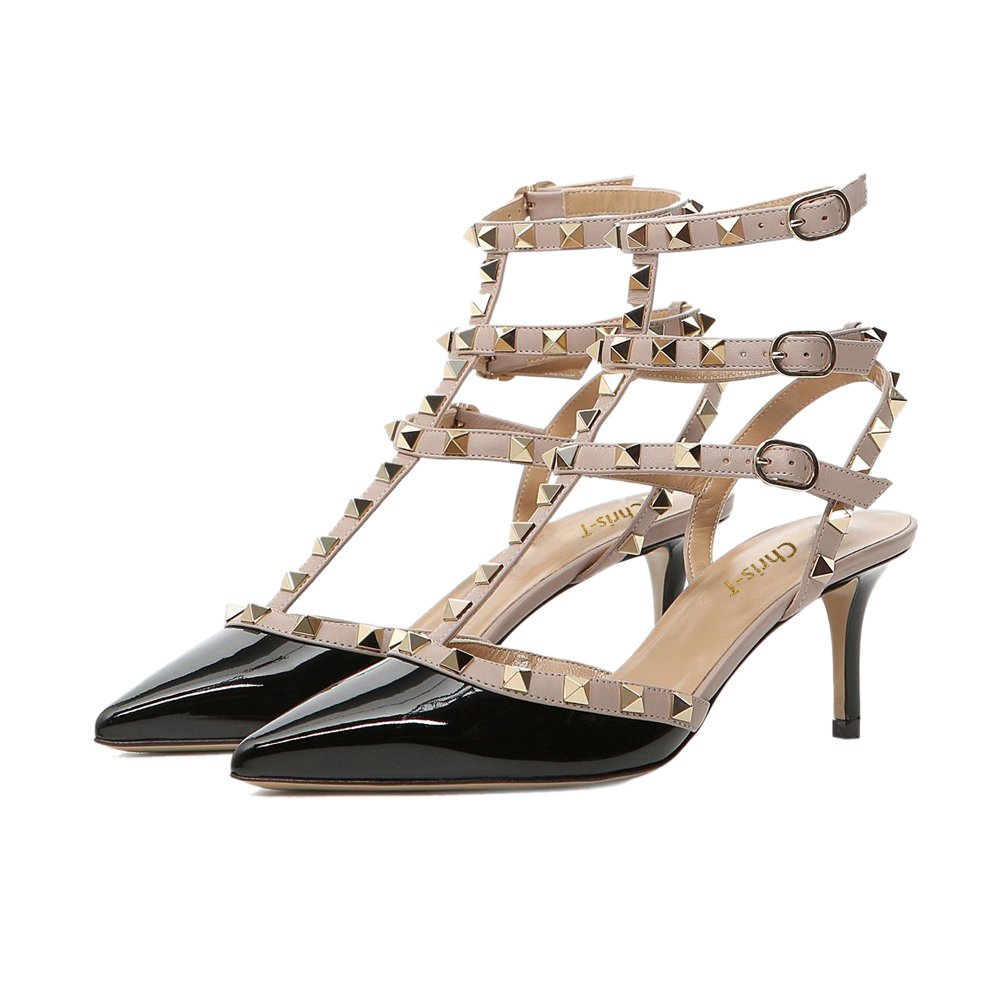 Chris-T Rockstud Sandals for Women,Strappy Studded Gladiator Shoes Slingback Stiletto Heels Stud Pumps