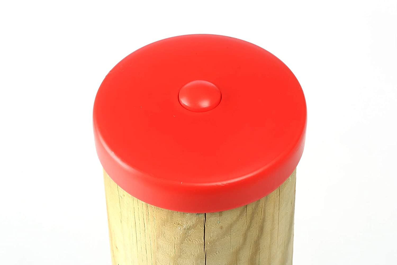Abdeckkappe rot aus Kunststoff für runde Pfosten Ø 120 mm von Gartenpirat Terrassen & Zäune Geländer & Latten