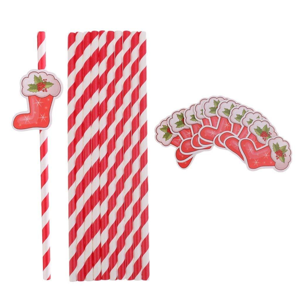10本入り クリスマス ドリンクストロー ペーパー ドリンクストロー カクテル クリスマス パーティー DIY ペーパー ストライプ ストロー ビーチ パーティー サプライ - ブーツ   B07K5WZS5G