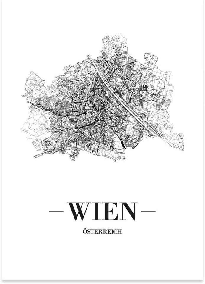 JUNIWORDS Stadtposter Kreta Weiß Kunstdruck Plan Map