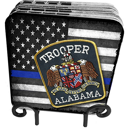 50 States Highway Patrol, State Patrol, State Police 9 Pc Hardboard Coasters with Metal Stand (Alabama)