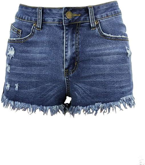b13efcdae QinMMROPA Vaqueros Rotos Cortos para Mujer y niña, Pantalones Cortos  Ajustados Boyfriends Rotos Short Jeans Mujeres Sexy Pantalon