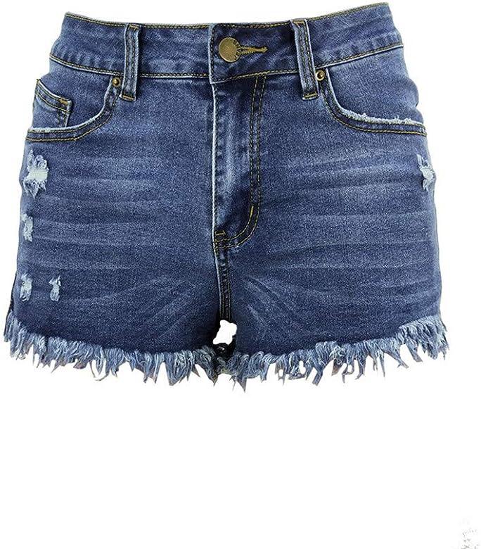 QinMMROPA Vaqueros Rotos Cortos para Mujer y niña, Pantalones Cortos Ajustados Boyfriends Rotos Short Jeans Mujeres Sexy Pantalon