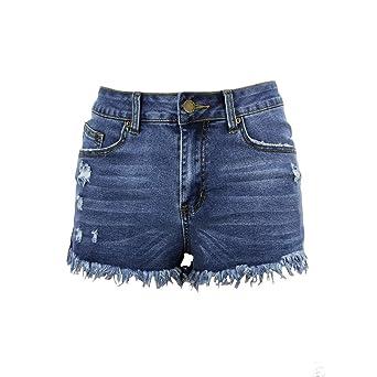 Gusspower Pantalones Cortos Sexy Vaqueros Mujer Cintura Alta ...