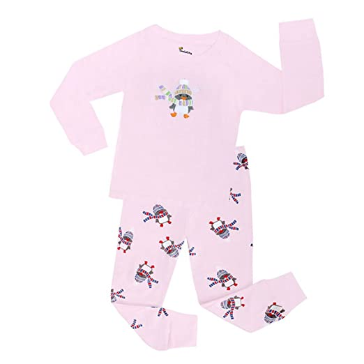 28a55d8c8 Amazon.com  Girls Pajamas Pink Penguin Children Pjs Kids Rib Long ...
