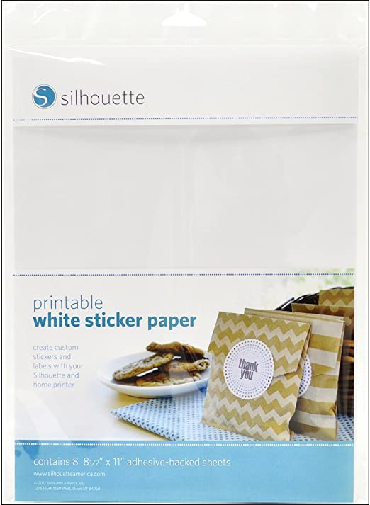 Available in White /& Clear Silhouette PRINTABLE STICKER PAPER