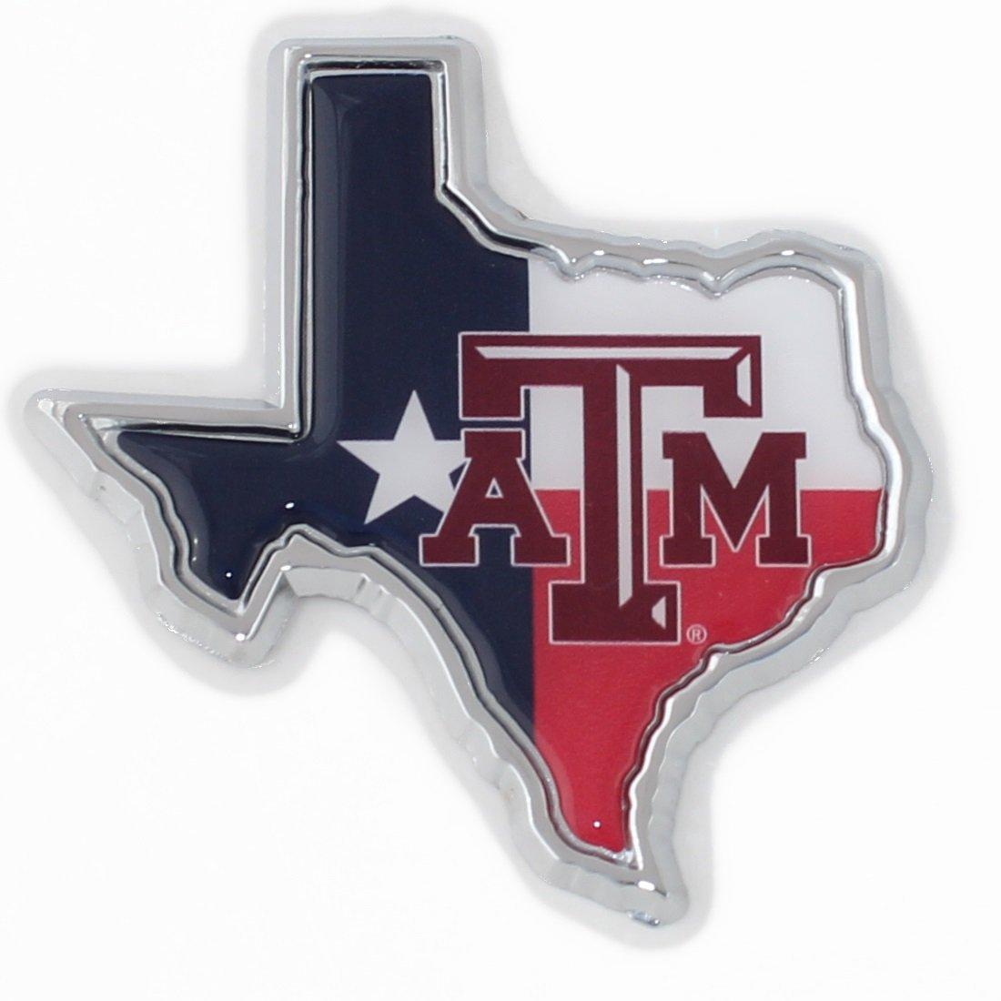 Many Available! Chrome Texas A/&M University Aggies Metal Auto Emblem Maroon Trim