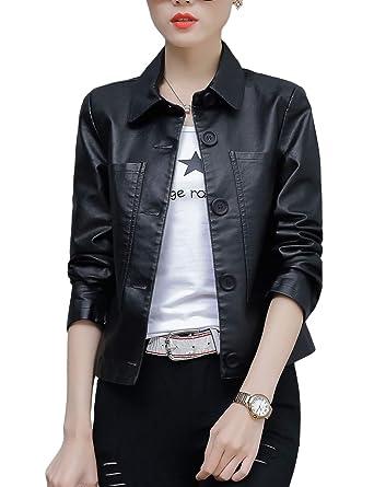 c07f9b30518 Jenkoon Women's Notch Lapel PU Leather Long Coat Jacket Single Breasted Trench  Coat Jacket (3