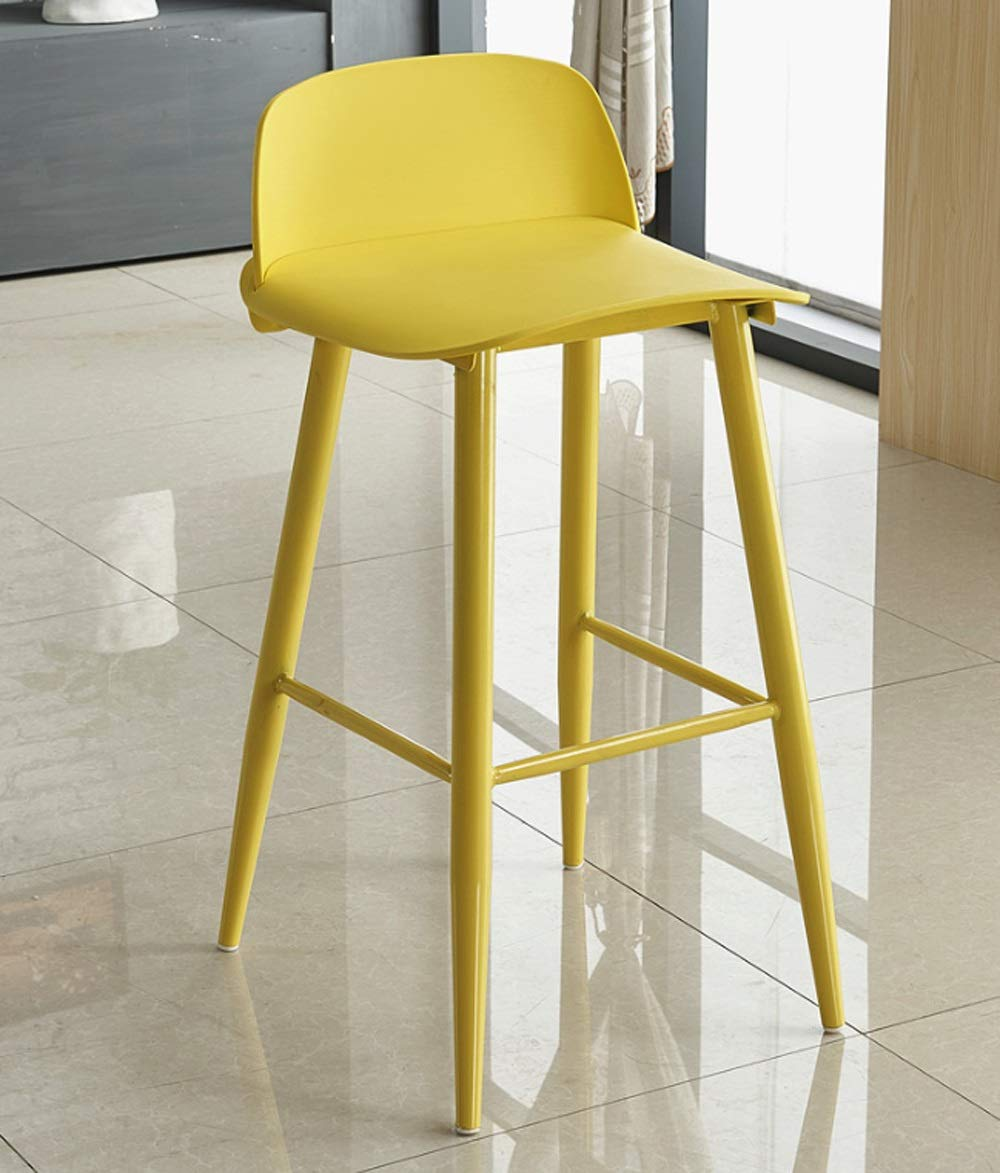 AO-stools High Stool Fashion Bar Chair Iron Chair Front Casual Personality Chair 76x55x54cm (Color : Yellow)