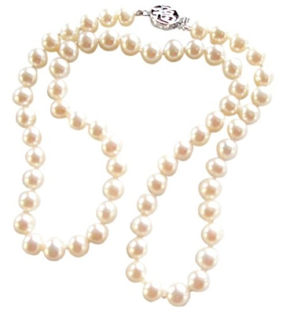 Classic White 6-7mm Cultured Pearl Necklace With A Pretty Round Silver Clasp