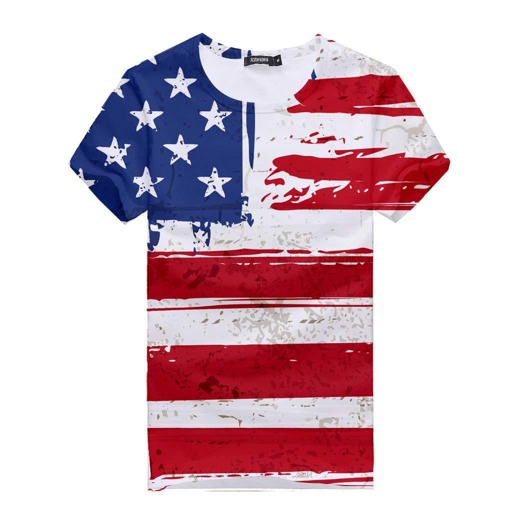 Respctful✿American Flag Clothing for Women Summer O Neck Raglan Short Sleeve Shirts Casual Short Sleeve Red by Respctful Women's Clothing (Image #4)
